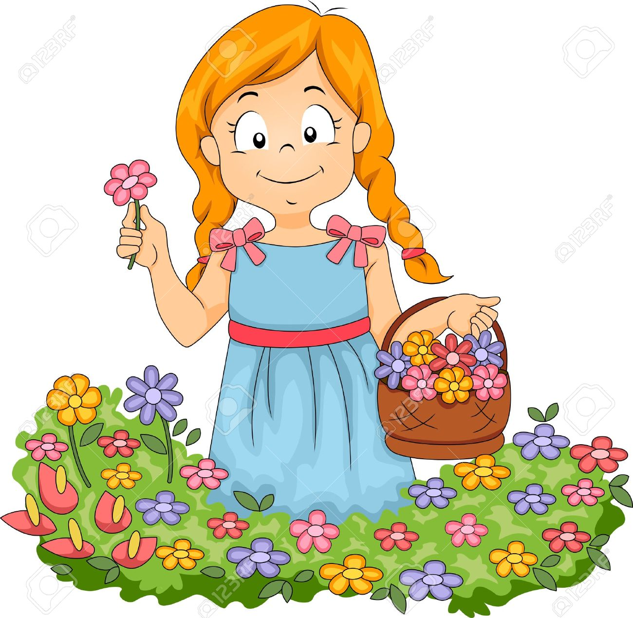 illustration of little kid with basketful of flowers picking