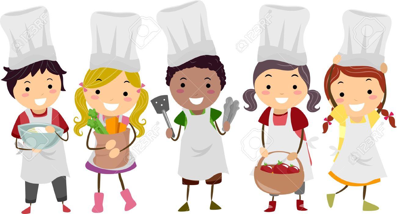 illustration of stickman kids as little chefs stock photo picture rh 123rf com Vintage Cooking Clip Art Recipe Clip Art