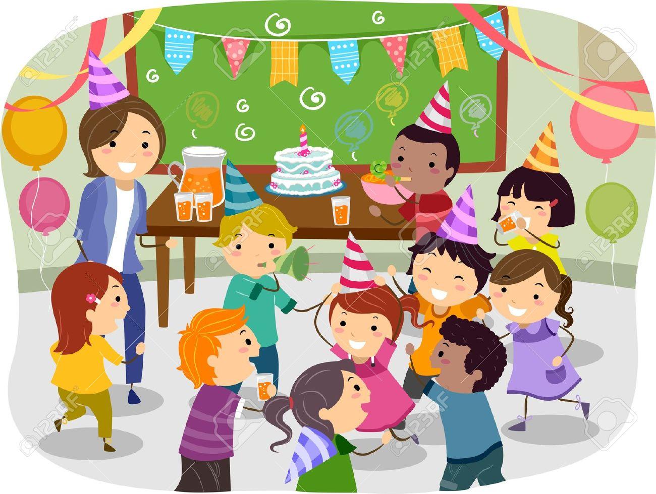 学校で誕生日パーティーを持つ棒人間子供のイラスト の写真素材画像