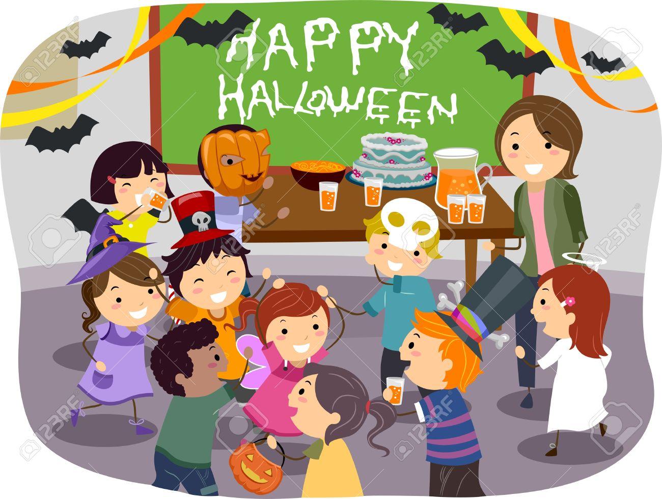 Illustration Of Stickman Kids Having Halloween Party At School ...