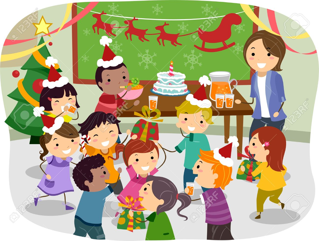 Illustration Of Stickman Kids Having A Christmas Party At School ...