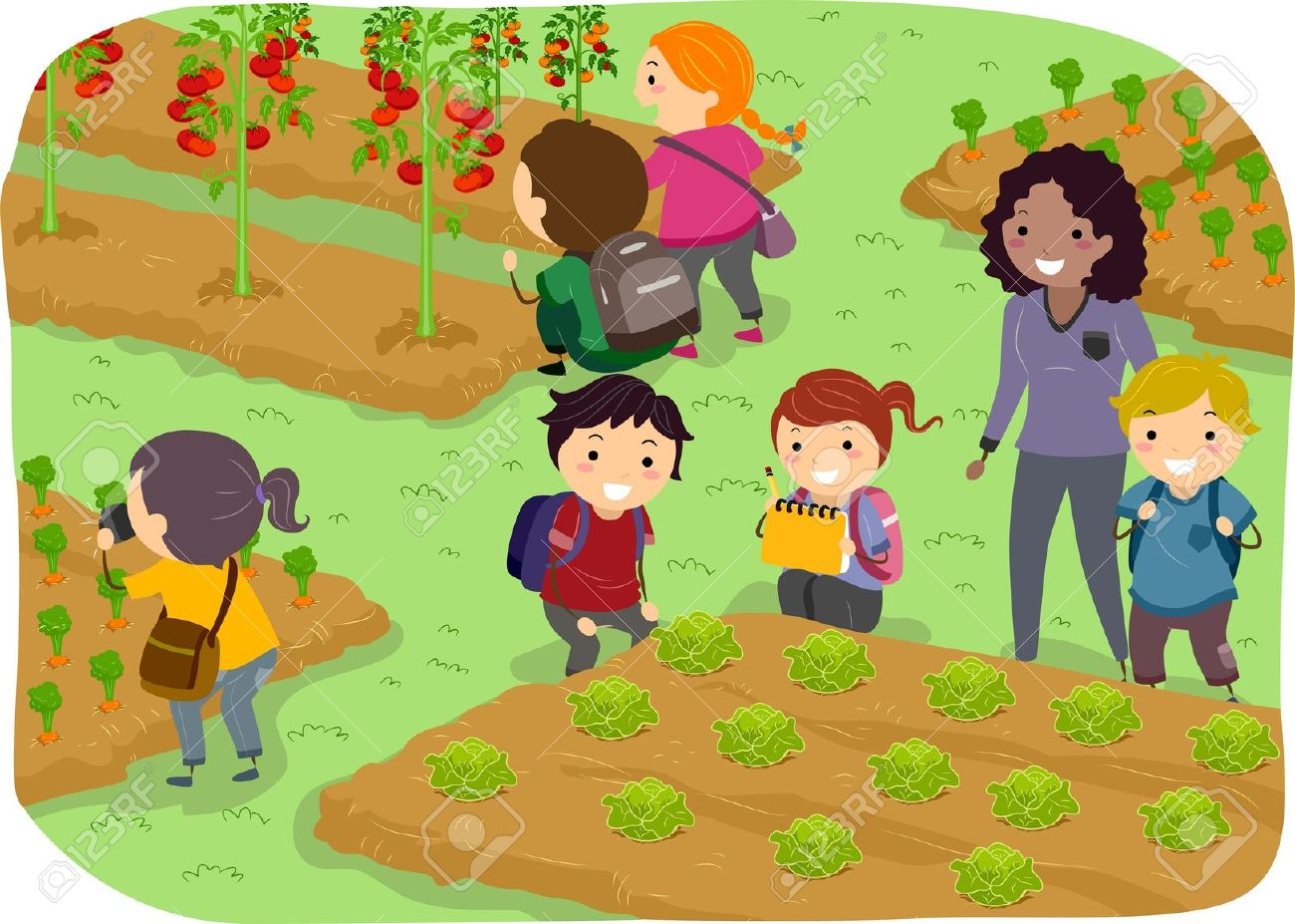 Vegetable garden kids drawing - Vegetable Garden Illustration Of Stickman Kids School Trip To A Vegetable Garden