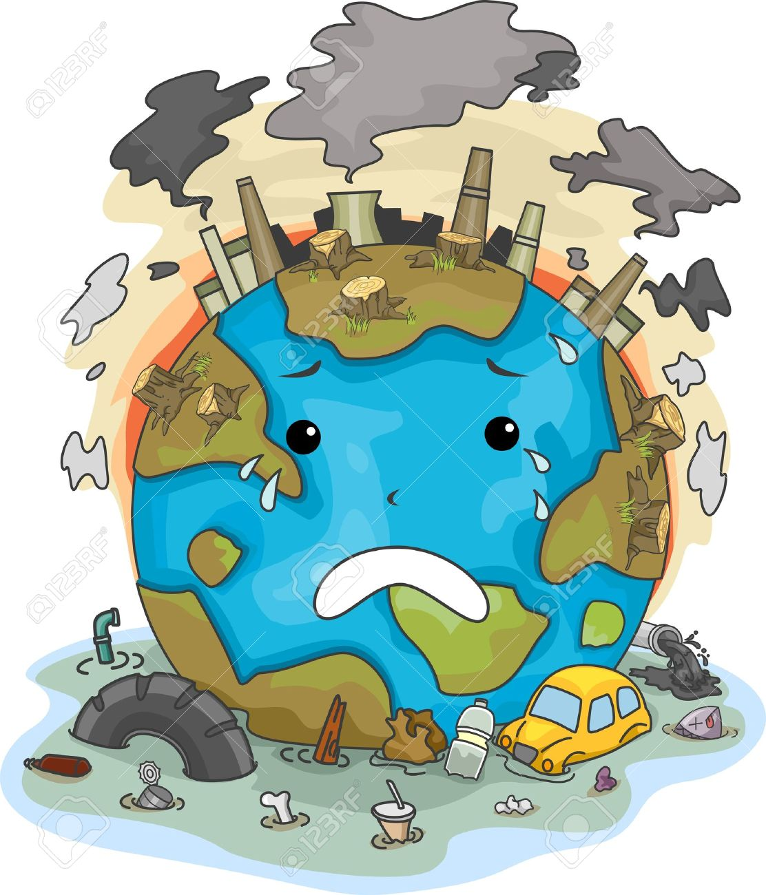 illustration of crying earth due to pollution stock photo picture rh 123rf com Text Message Clip Art Communication Clip Art