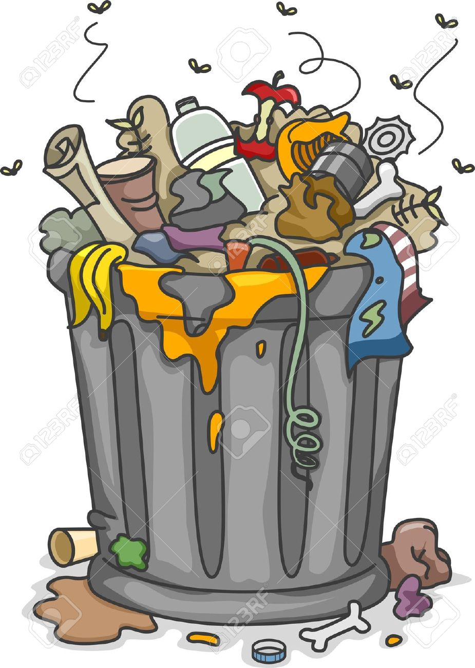 illustration of overflowing trashbin with flies stock photo picture rh 123rf com garbage clipart free garbage clipart free