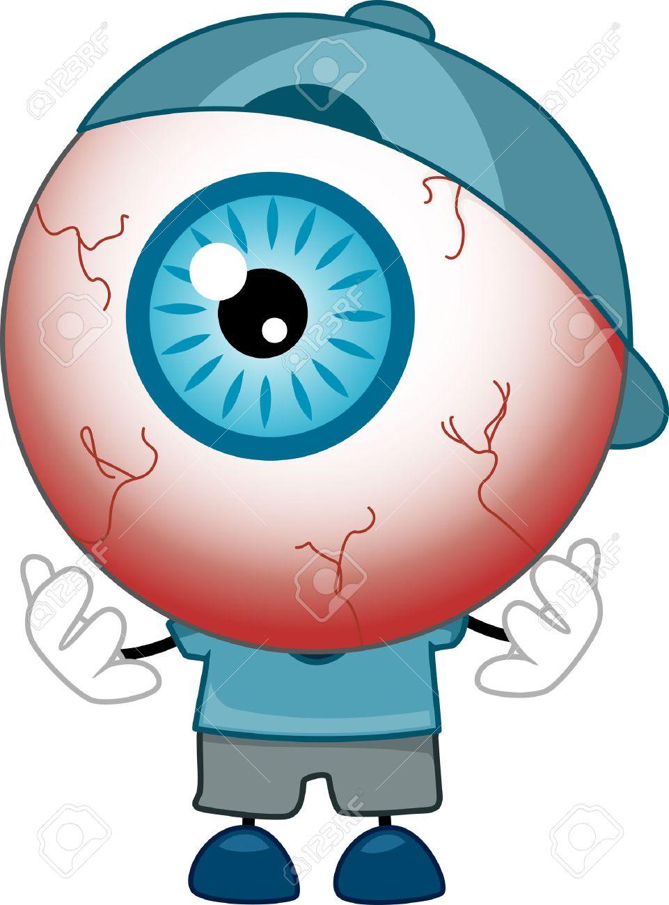 red eyed 眼球マスコット青いシャツ キャップ および靴を着ての