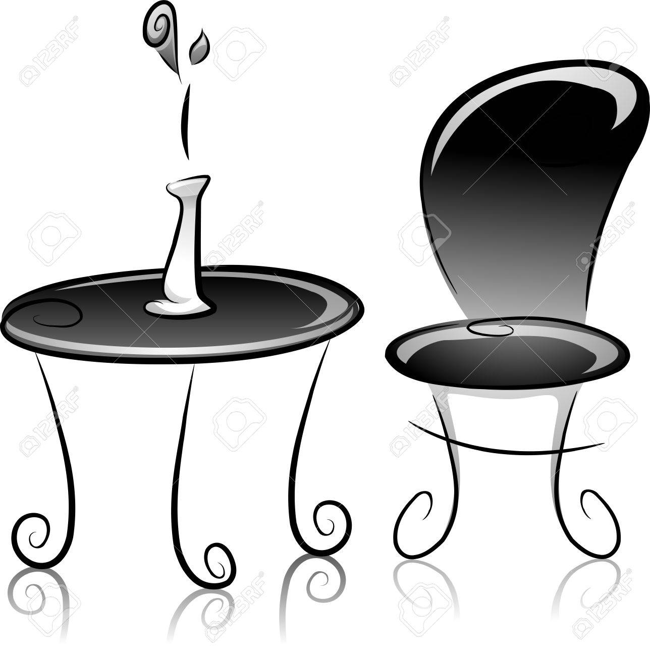 Illustration of flower vase table and chair in black and white illustration of flower vase table and chair in black and white stock illustration 22244905 reviewsmspy