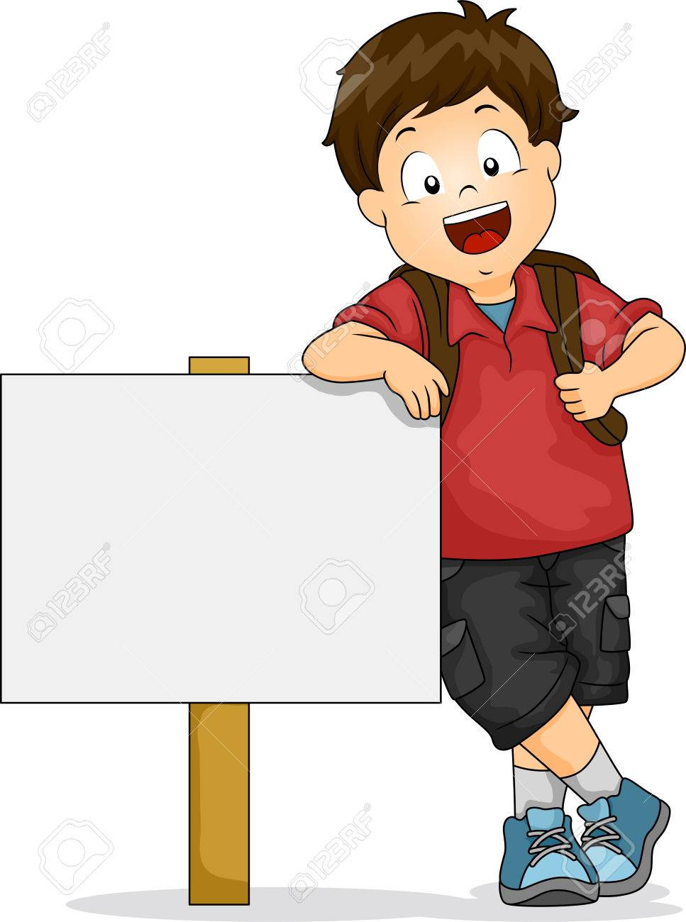 cartoon school illustration of kid boy leaning on blank signboard