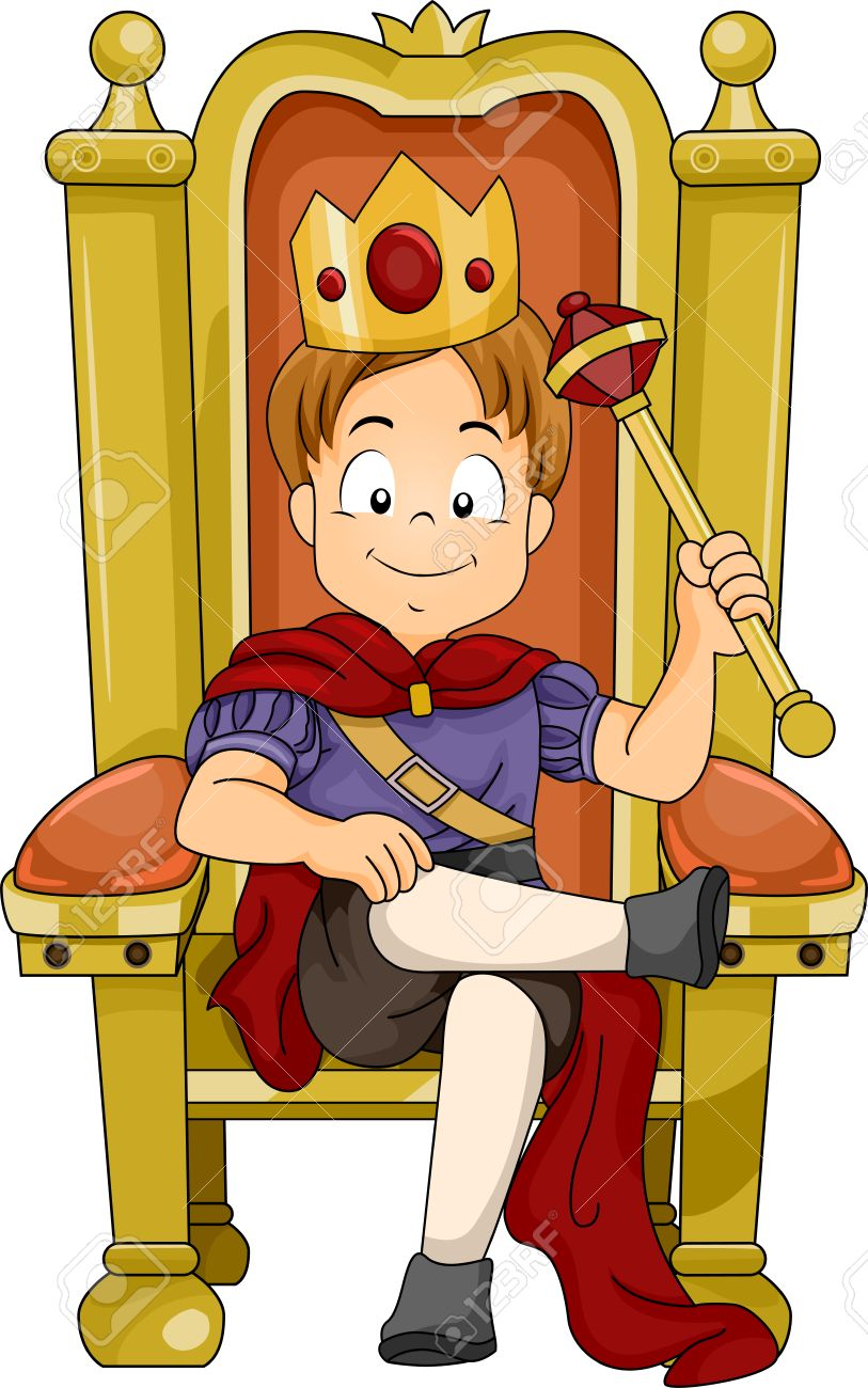 illustration of a kid boy prince sitting on his throne stock photo