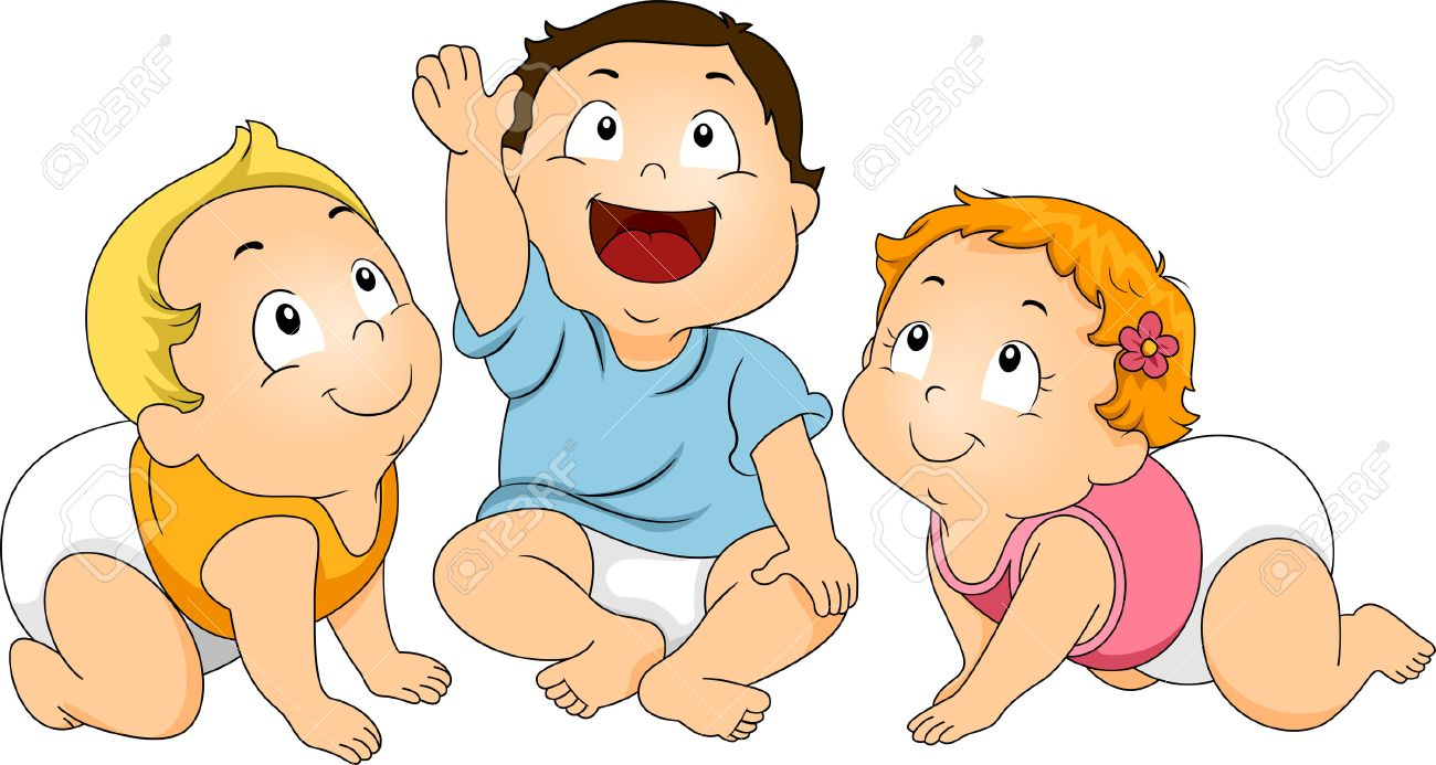 toddler illustration of a group of toddlers huddled together while looking upward stock photo - Free Cartoons For Toddlers
