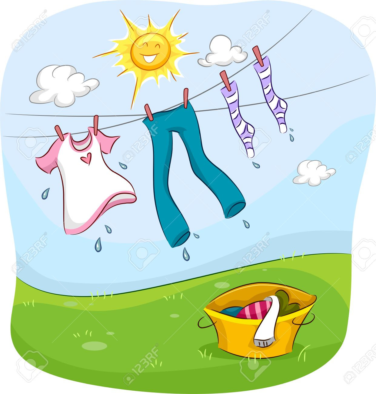 Drying Clothes Outside Clip Art
