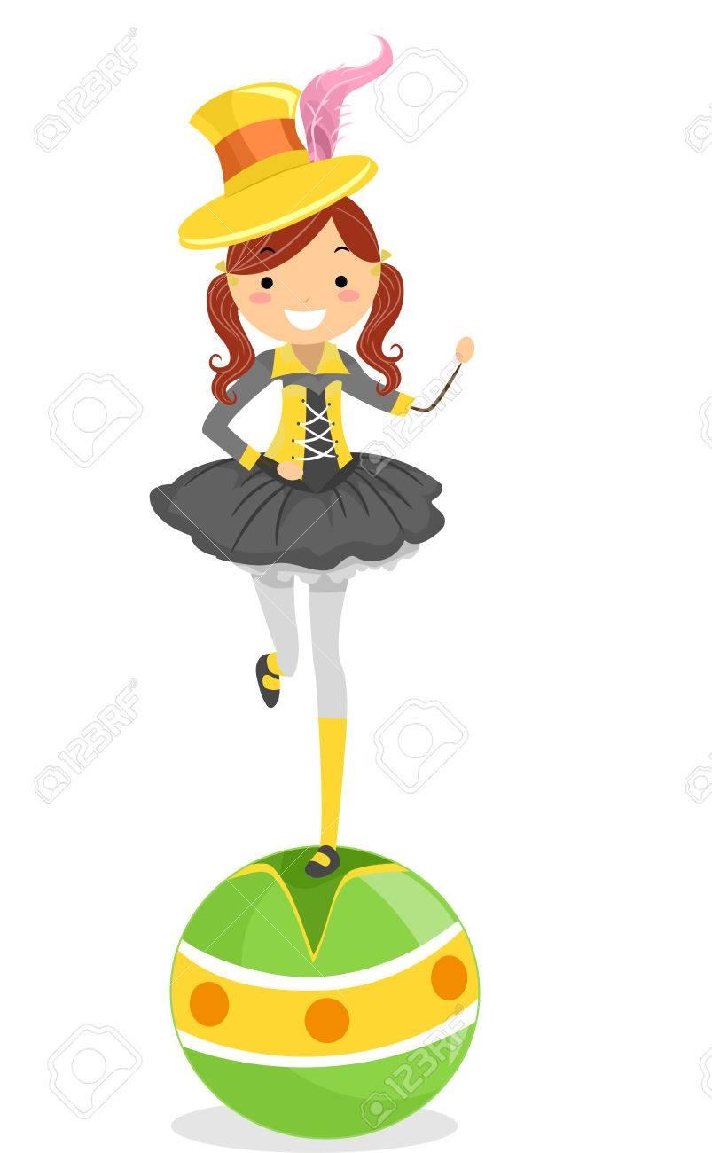 バランス ボールの上に立っている女性のサーカスの芸人のイラスト の写真
