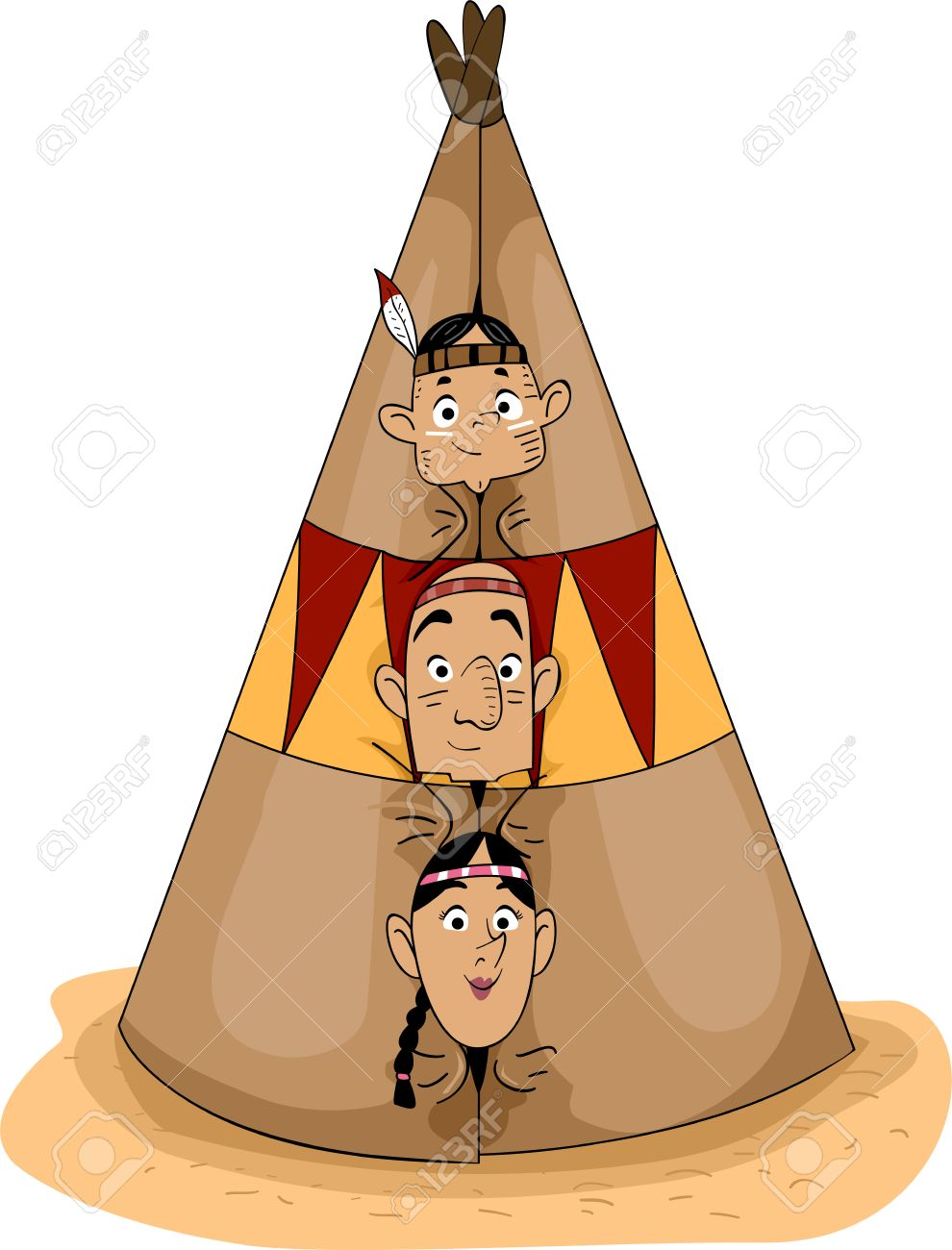 Illustration of a Native American Family Peeking from a Teepee Stock Illustration - 22812350