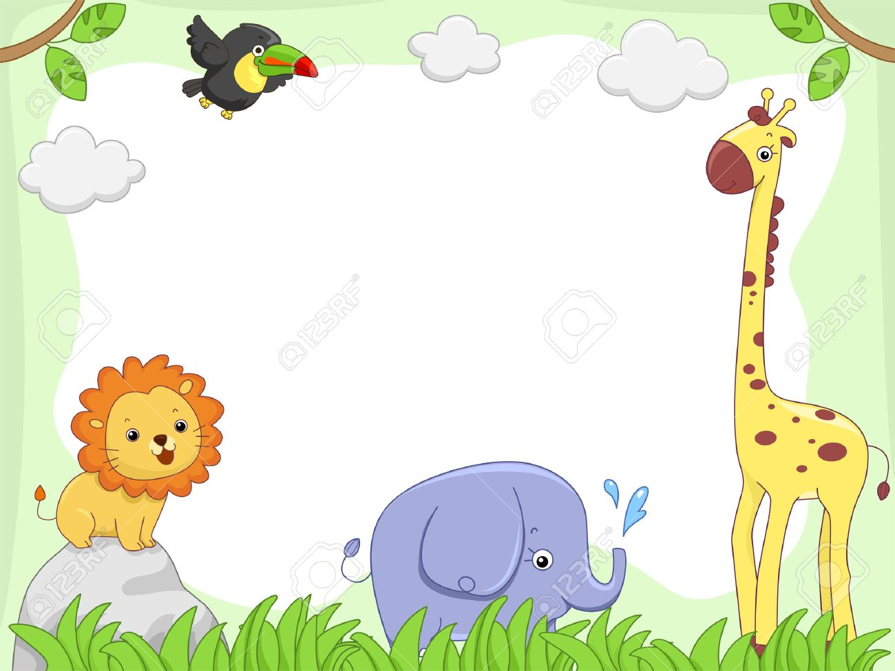 Baby Jungle Animals Background