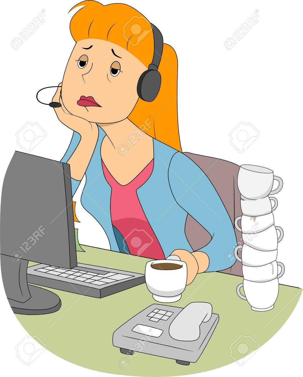 Illustration of a Bored and Sleepy Girl Sitting in Front of a Computer Stock Illustration - 22817701