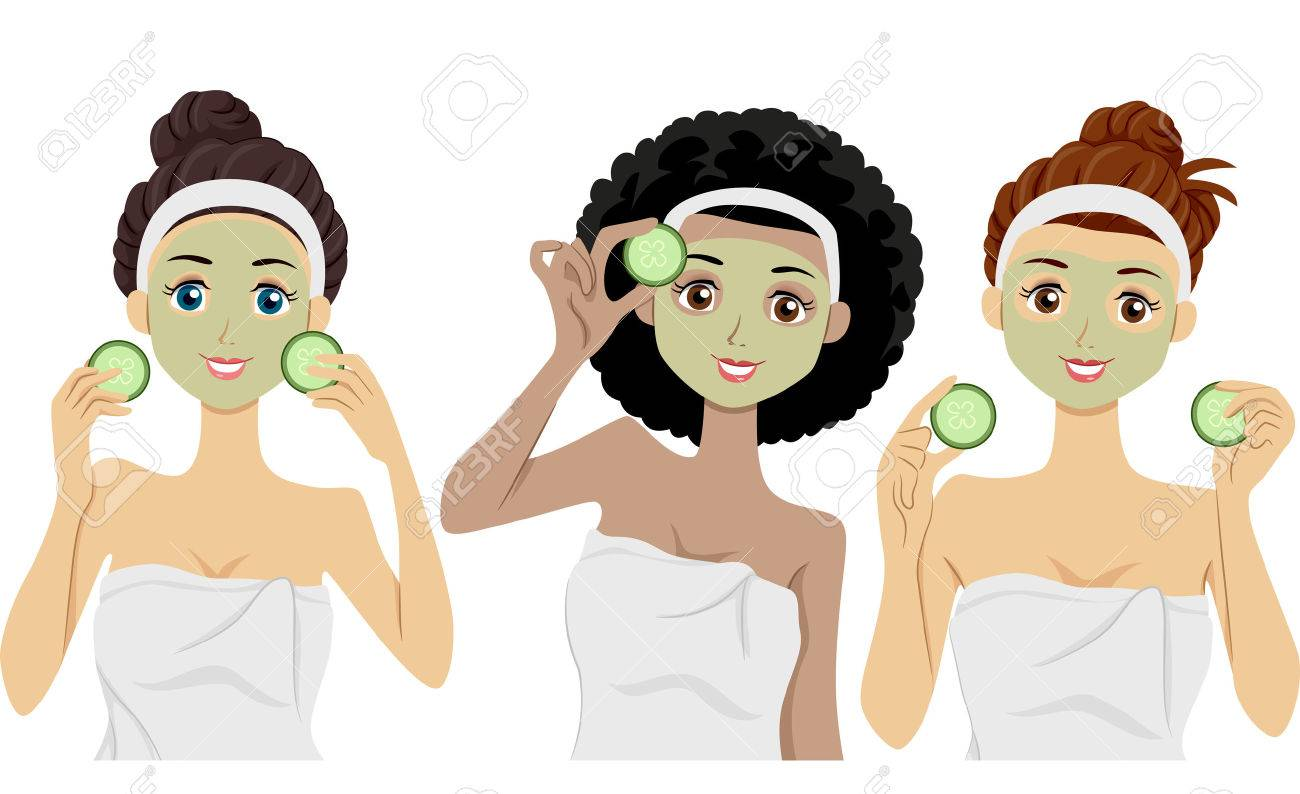 Illustration of Women Wearing Clay Masks on Their Faces Holding Slices of Cucumber Stock Illustration - 22817726