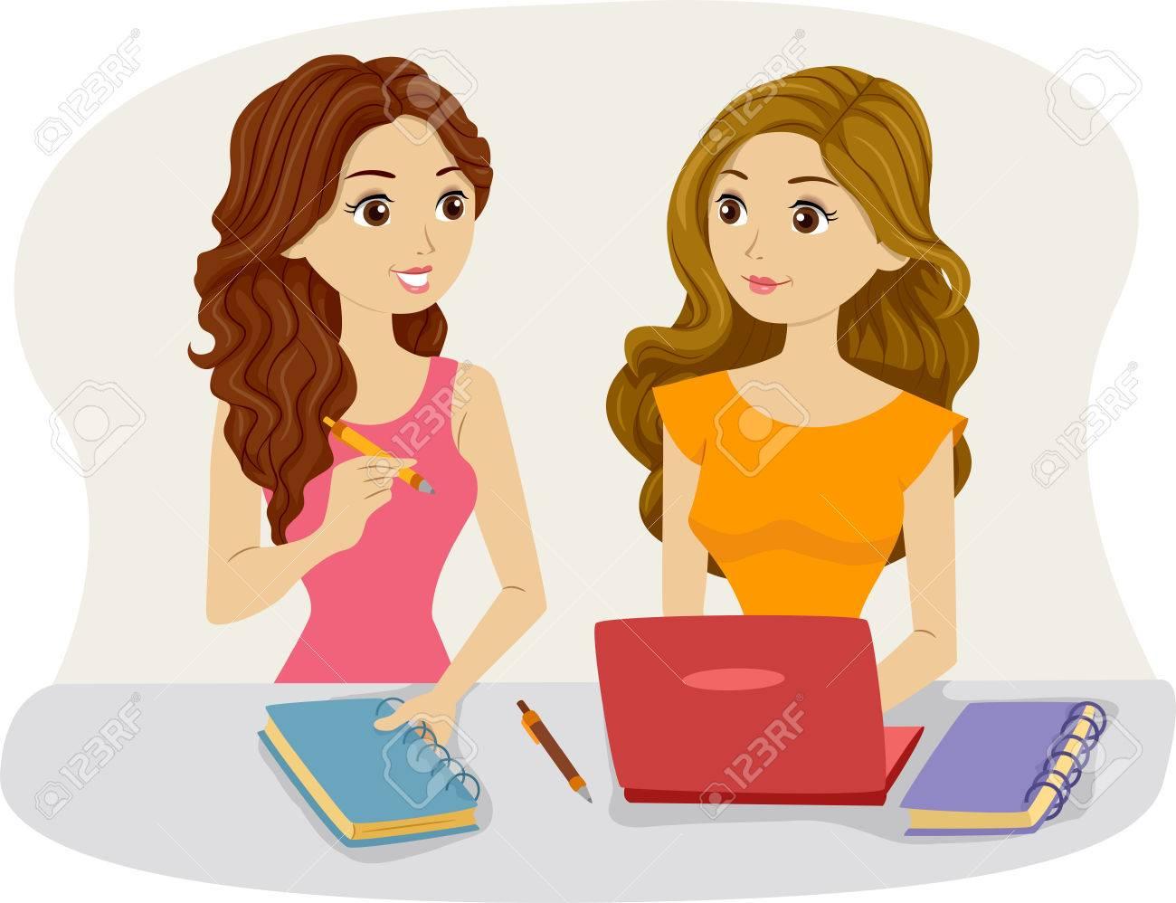 Illustration of Female Roommates Studying Together Stock Illustration - 22817729