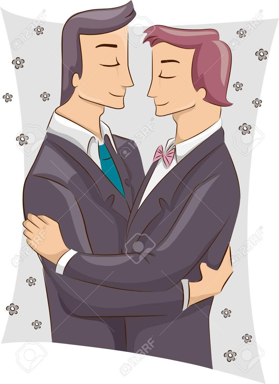 男性同性カップルと結婚後抱き合ってのペアのイラスト ロイヤリティー