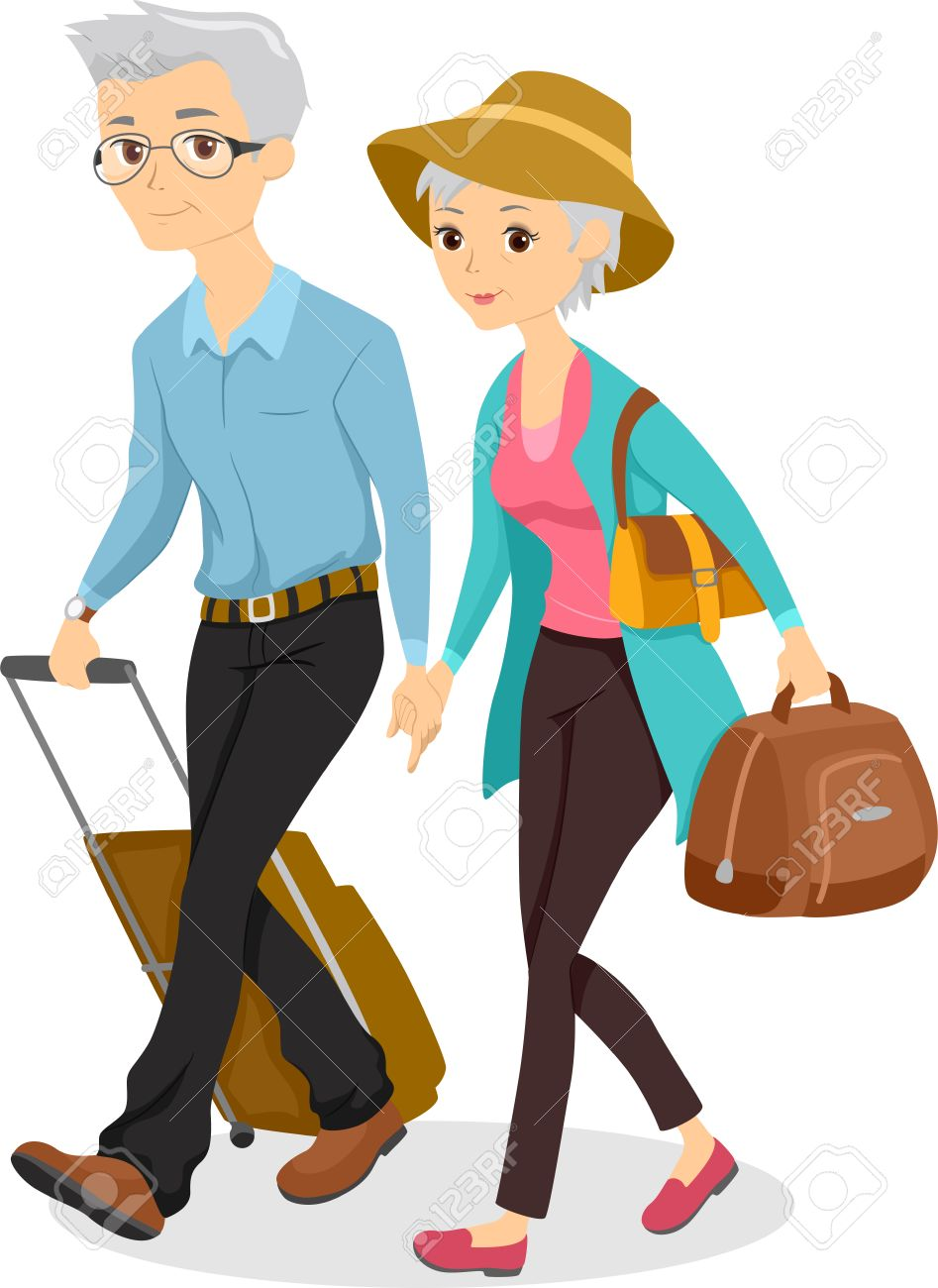 Illustration of an Elderly Couple Traveling Together with Luggage in Tow Stock Photo - 22817741
