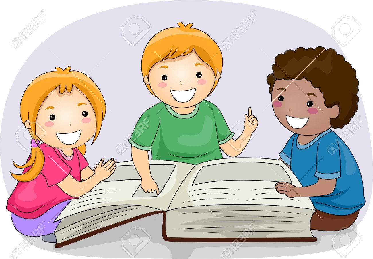 大きい本から文章を読む子供たちのイラスト の写真素材画像素材 Image