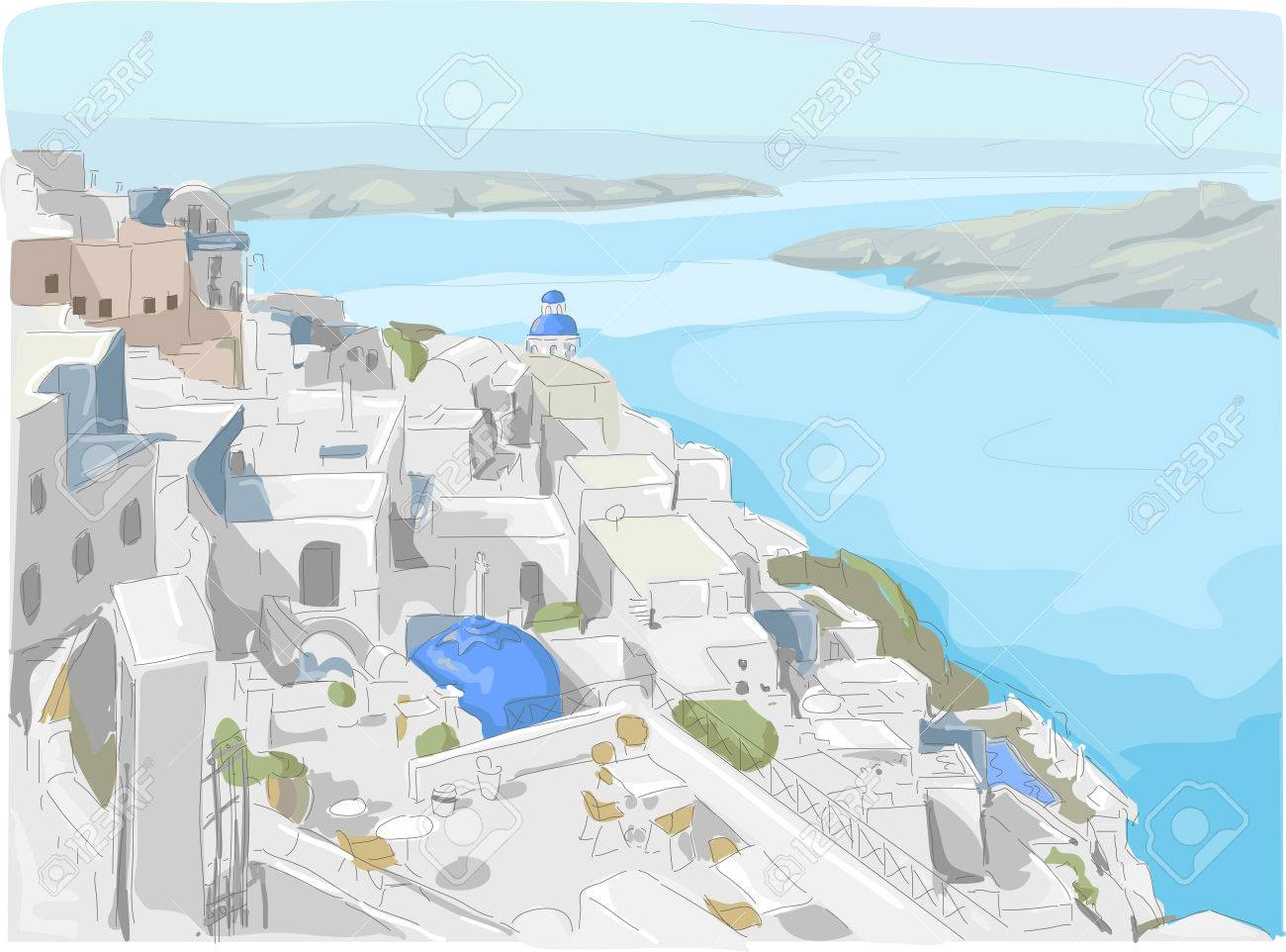 Illustration Featuring a View of Santorini Island in Greece Stock Illustration - 24226786