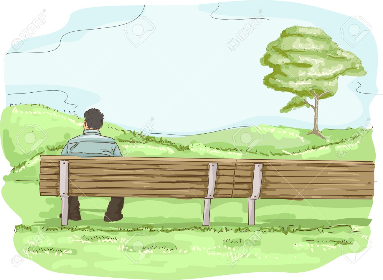 Illustration of a Man Enjoying Some Solitary Time While Sitting on a Park Bench Stock Photo - 24226814
