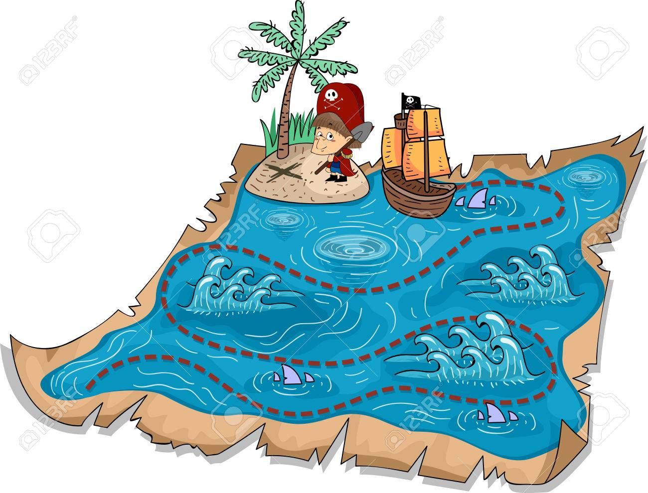 Illustration of a Treasure Map with Three-Dimensional Markers Stock Photo - 24226912