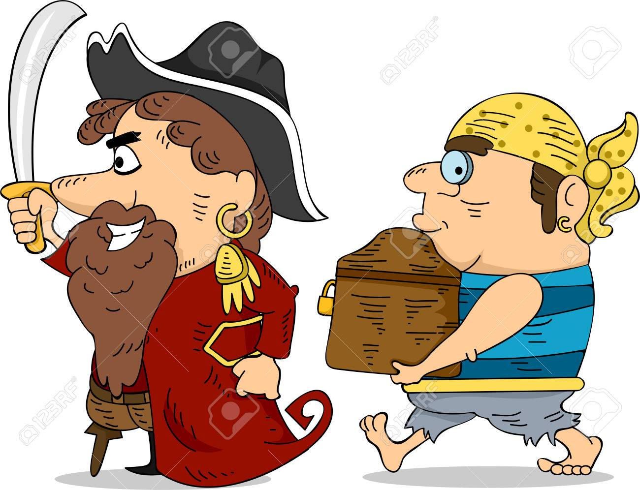 Illustration of Pirates Carrying a Locked Treasure Chest Stock Illustration - 24226914