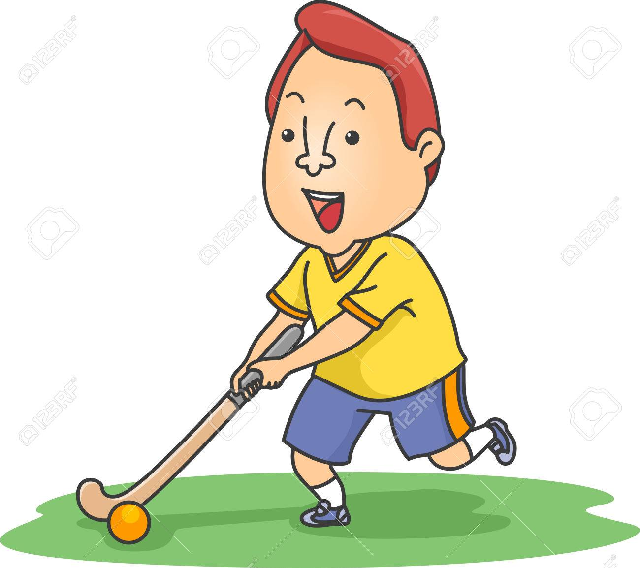 illustration of a field hockey player moving a ball across a