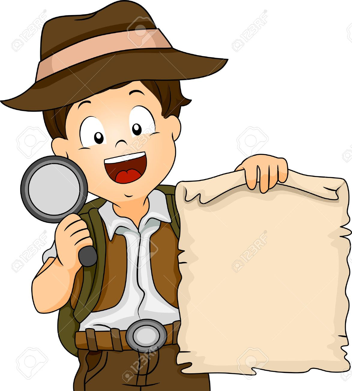 Illustration Of A Boy In Camping Gear Holding Treasure Map And Magnifying Glass Stock