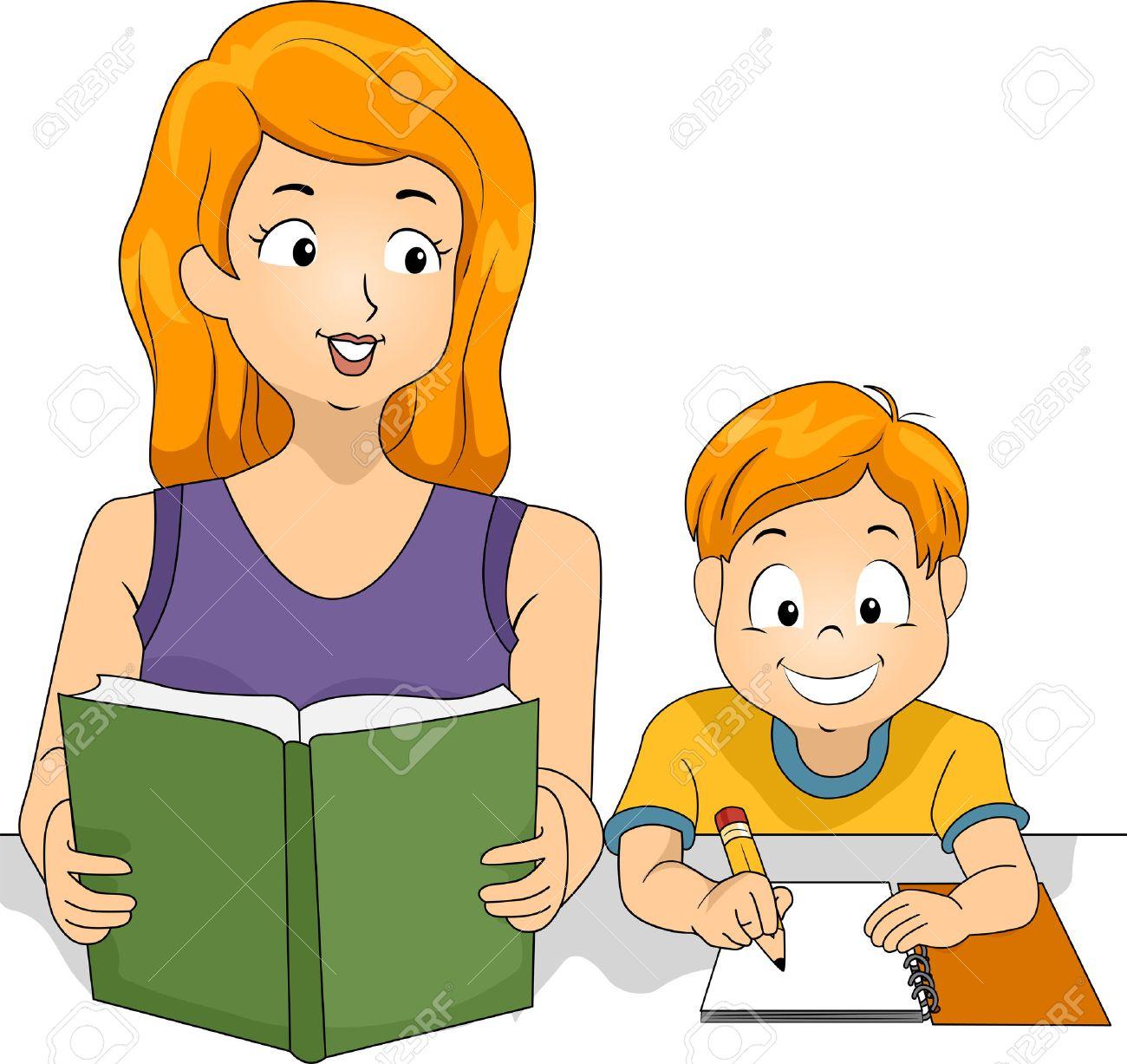 彼女の息子の宿題を助ける母のイラスト の写真素材画像素材 Image