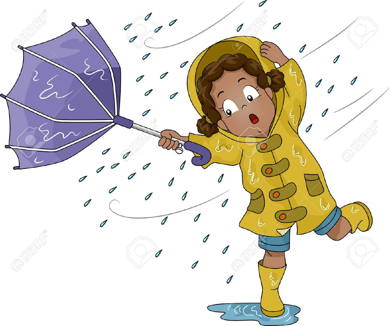 Illustration of a Little Girl Holding an Umbrella Upturned by Poweful Winds Stock Illustration - 26494090