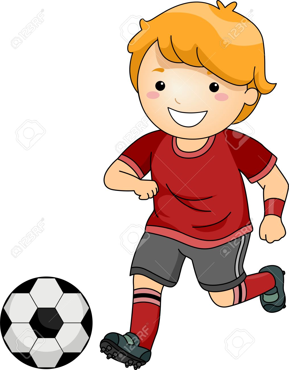 illustration of a little boy in soccer gear about to kick a soccer rh 123rf com kickball clipart black and white