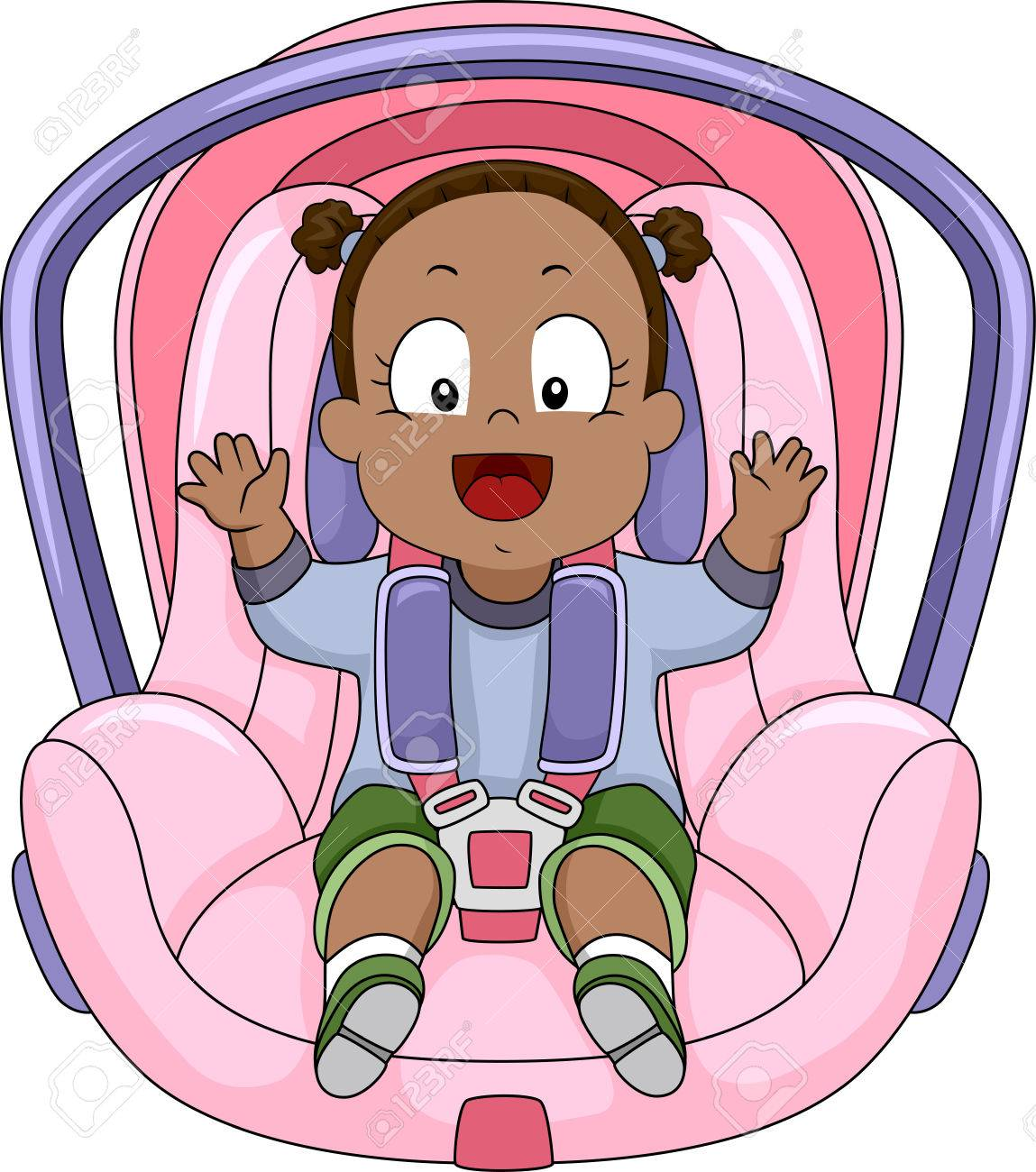 Illustration Of A Smiling Baby Girl Strapped To Car Seat Stock