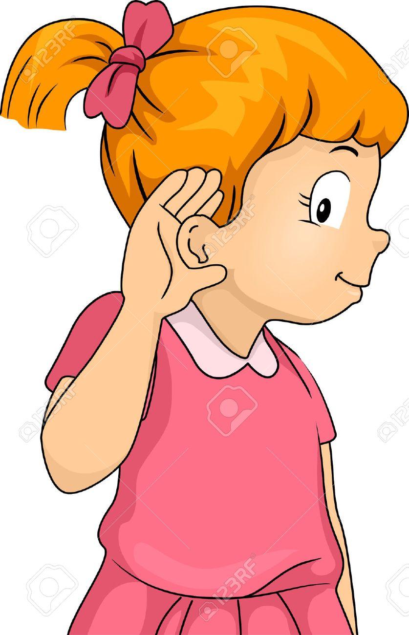 リスニング ジェスチャーで彼女の耳に対して押された彼女の手で小さな