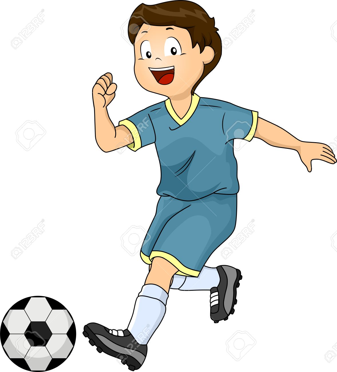 illustration of a little boy kicking a soccer ball stock photo