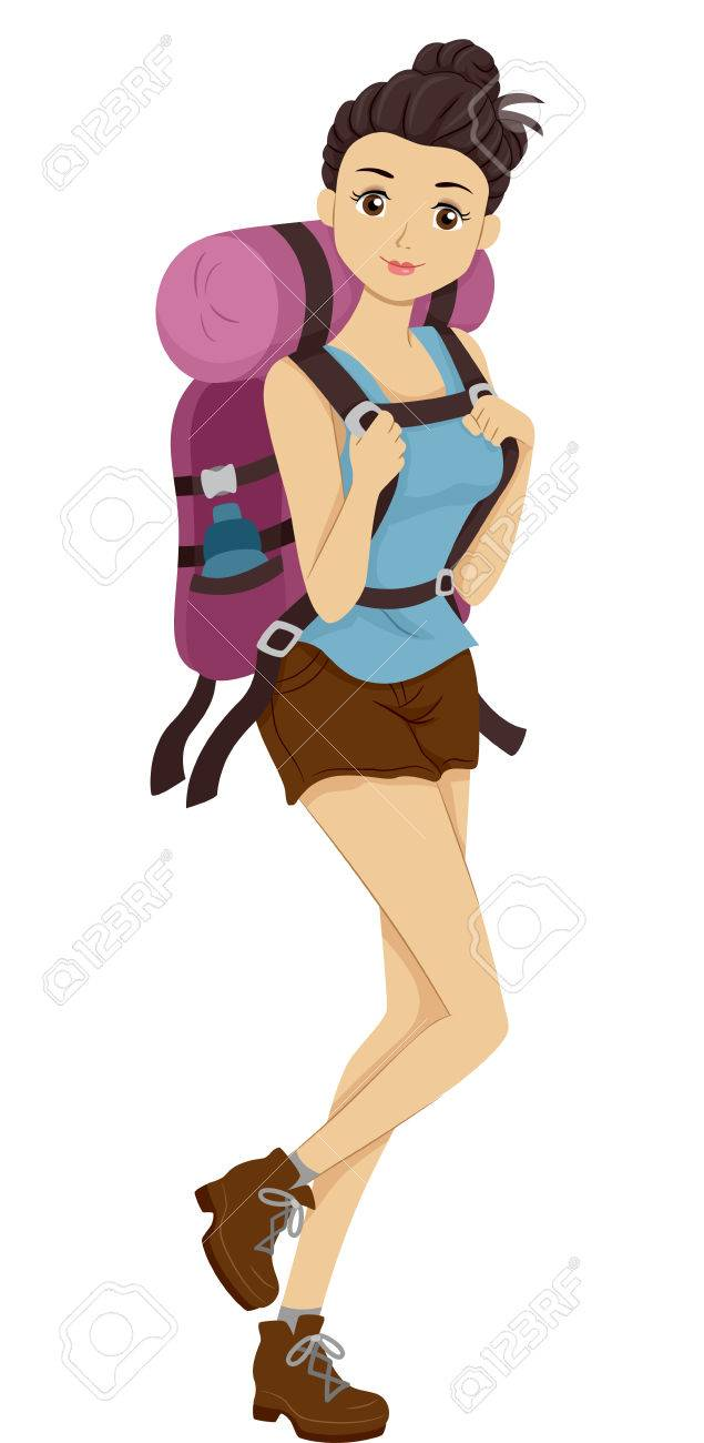 Illustration Of A Girl Carrying Camping Gear Headed For Hike Stock Photo