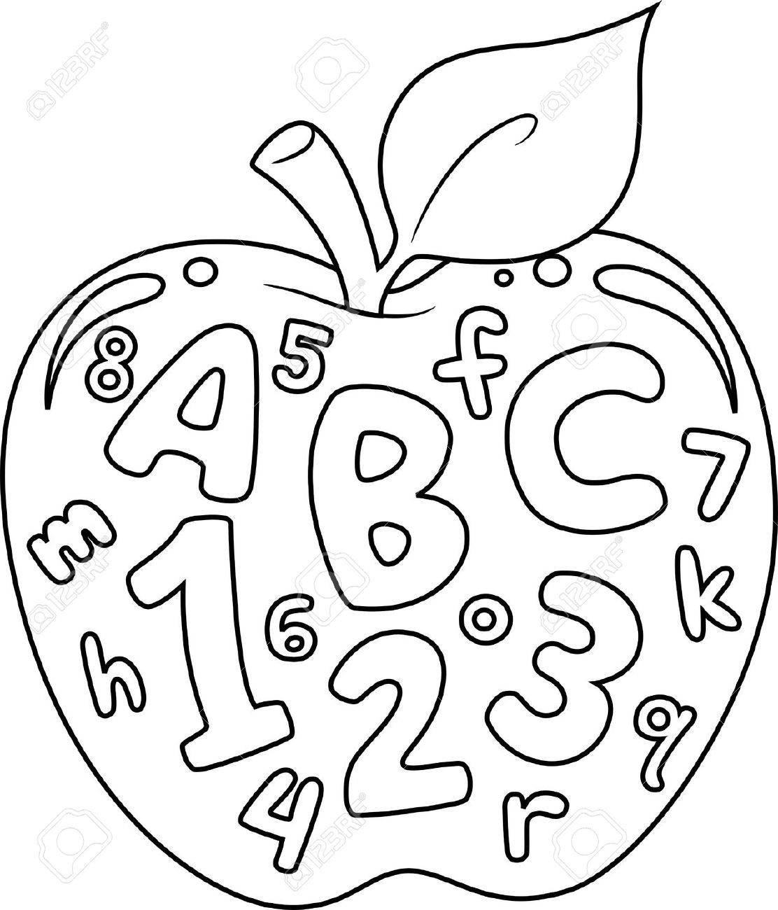 Coloring Book Illustration Featuring An Apple With Numbers And ...