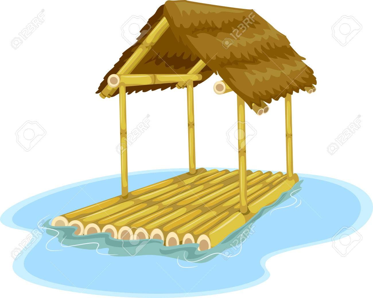 Illustration Featuring A Floating Hut Attached To A Bamboo Raft - Picnic table raft