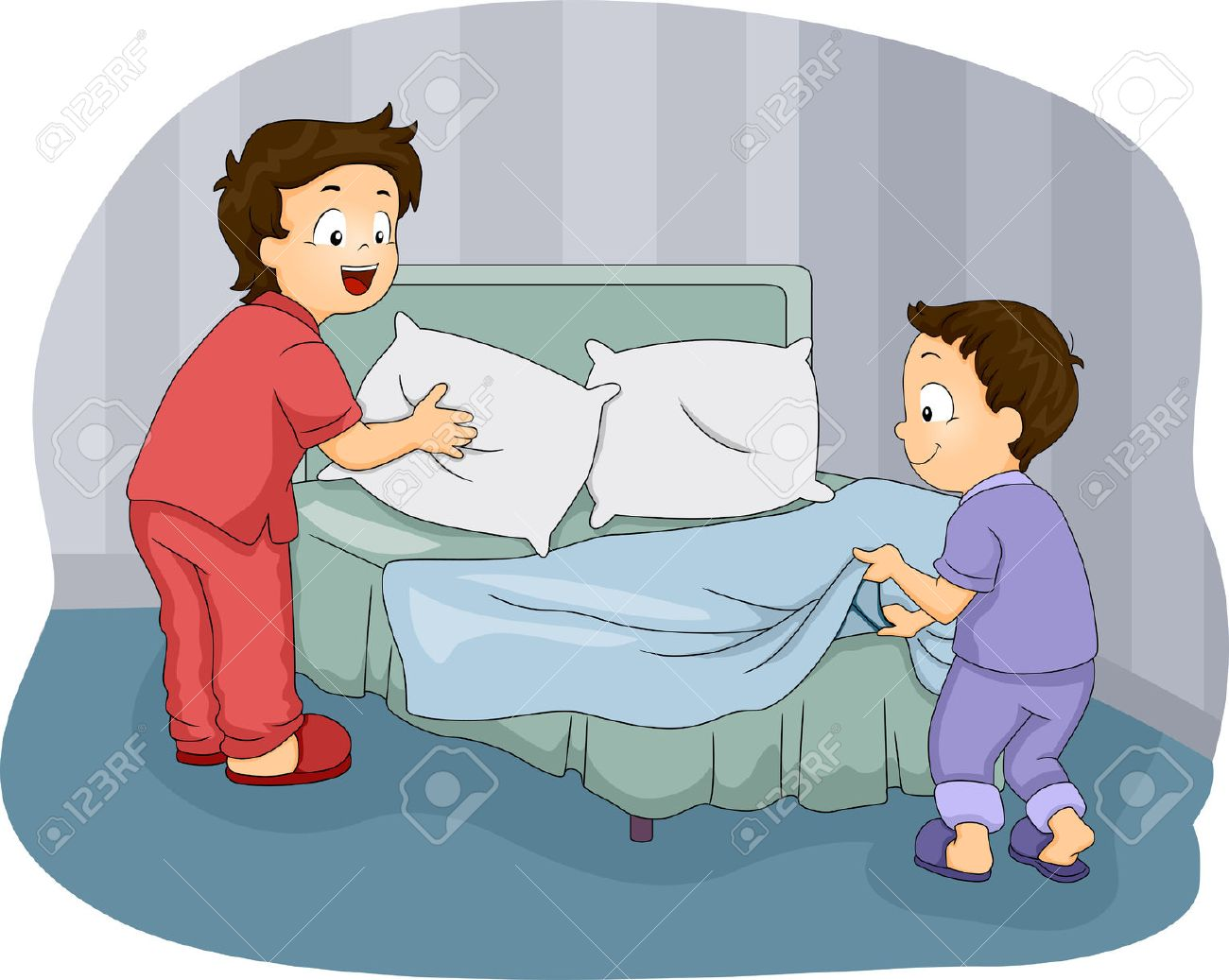 bed sheets  Illustration of Two Little Boys Making Their Bed. Bed Sheets Stock Photos Images  Royalty Free Bed Sheets Images And