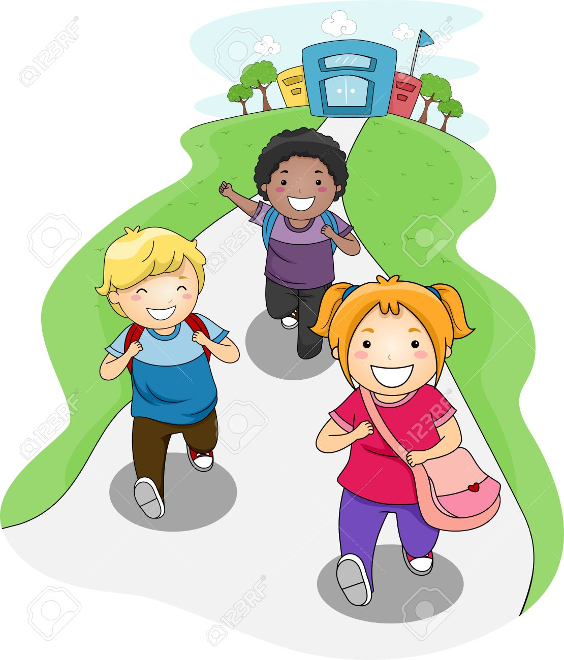 ilustración de niños ir a casa del colegio fotos retratos imágenes