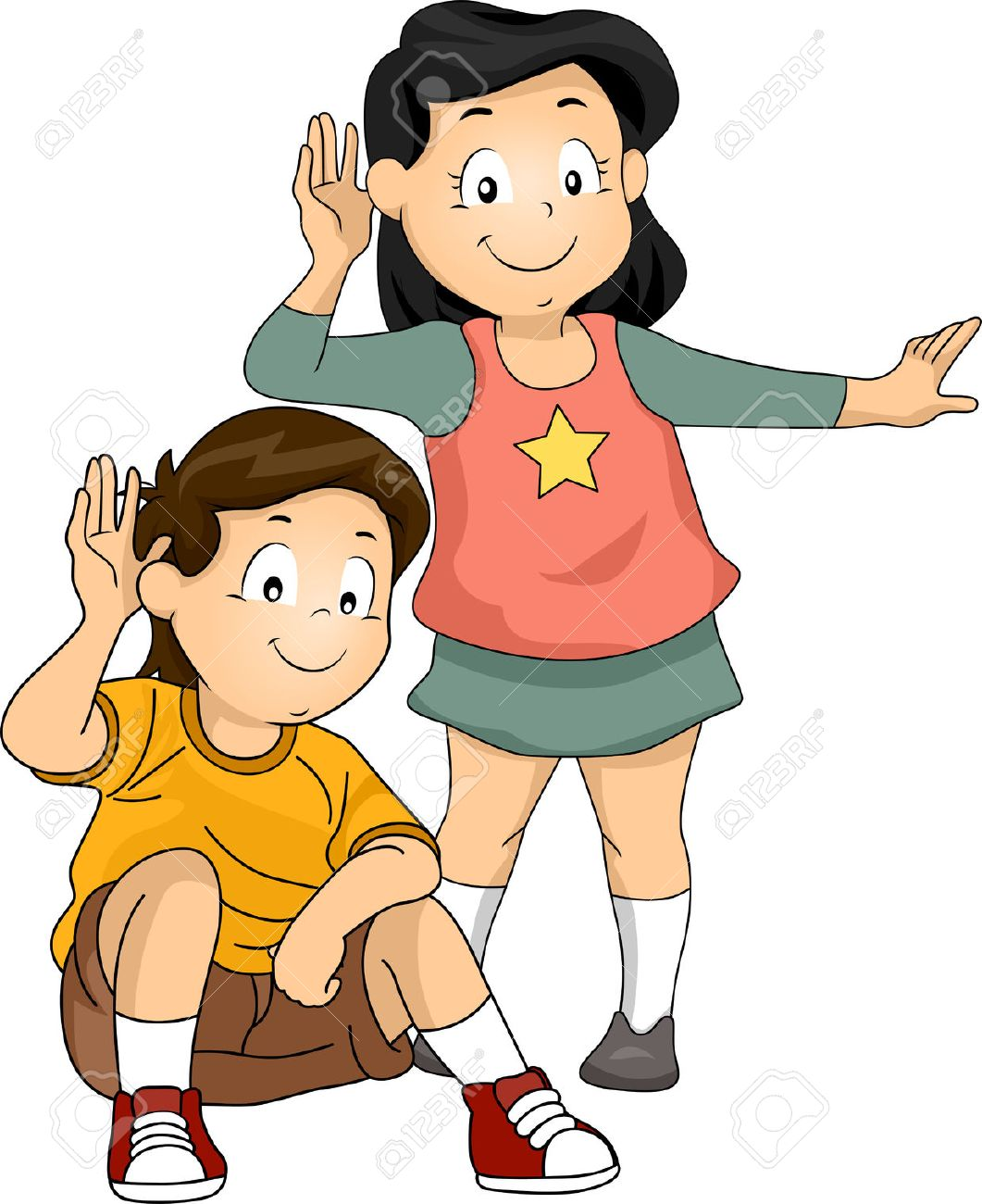 illustration of little kids with their hands pressed against.. stock