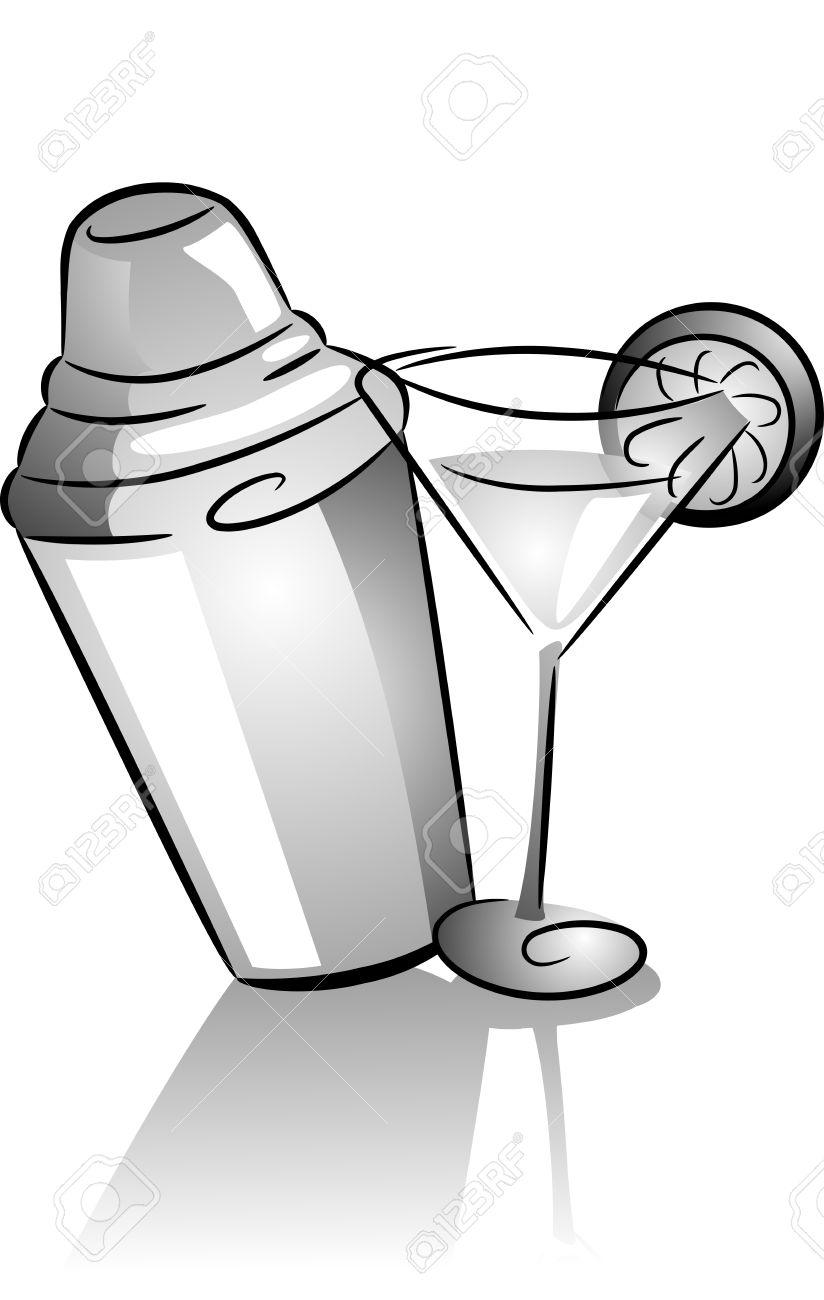 Fabuleux Icône Illustration Doté D'un Shaker Et Un Verre De Cocktail  FW22