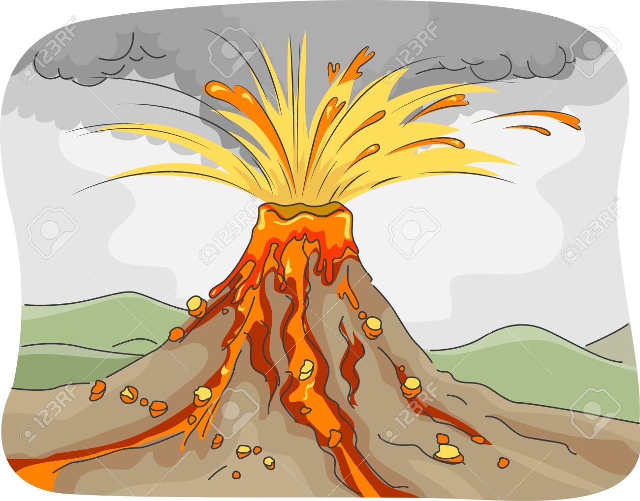 Resultado de imagen de erupción volcanica dibujo
