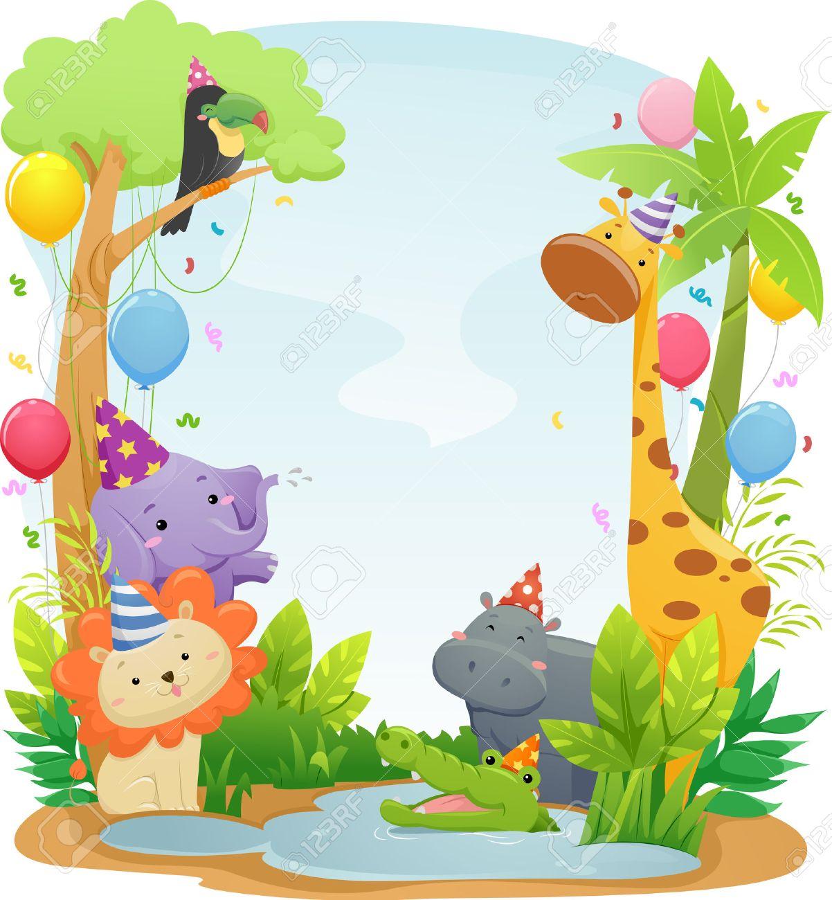 かわいいサファリ動物のパーティの帽子を着ての特徴背景イラスト