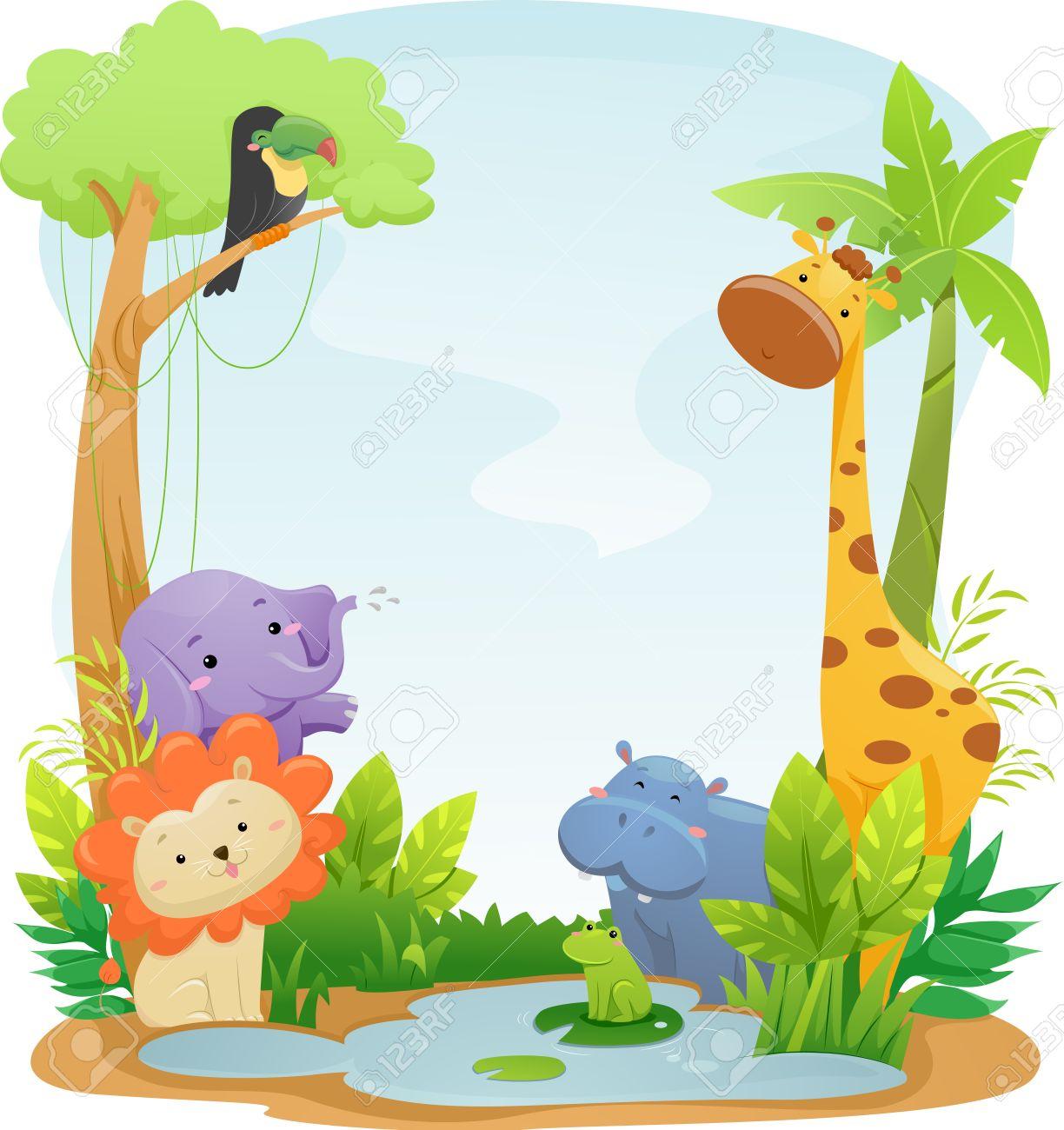 かわいいサファリの動物を集めた背景イラスト ロイヤリティーフリー
