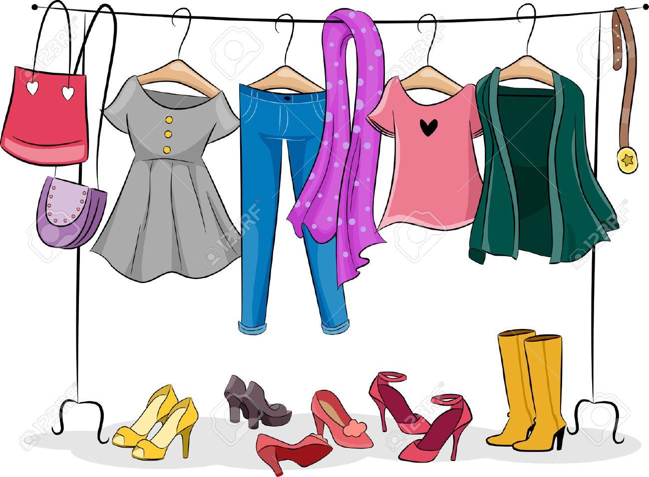 Illustration Dote D Un Rack Complet De Vetements Femme Vetements Banque D Images Et Photos Libres De Droits Image 28829940