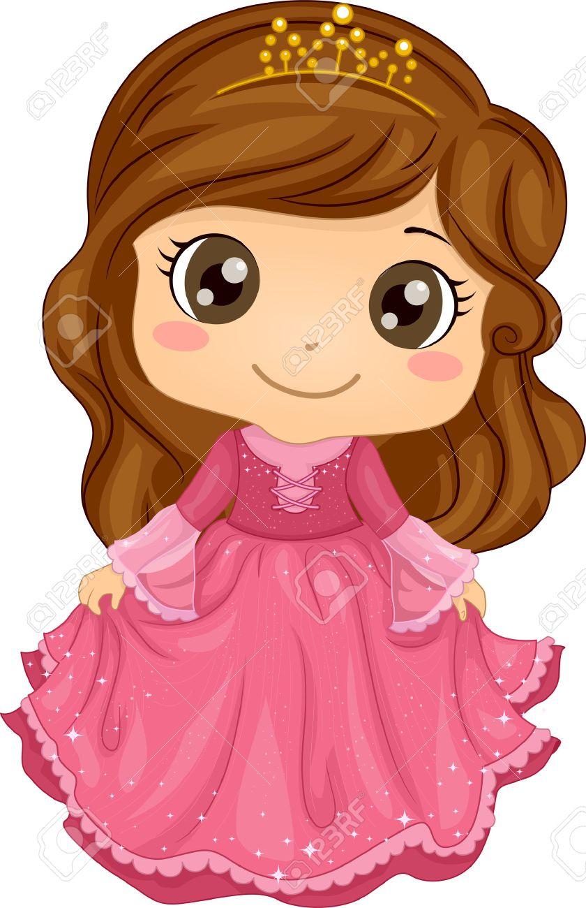 プリンセスの衣装を着てかわいい女の子のイラストのイラスト素材