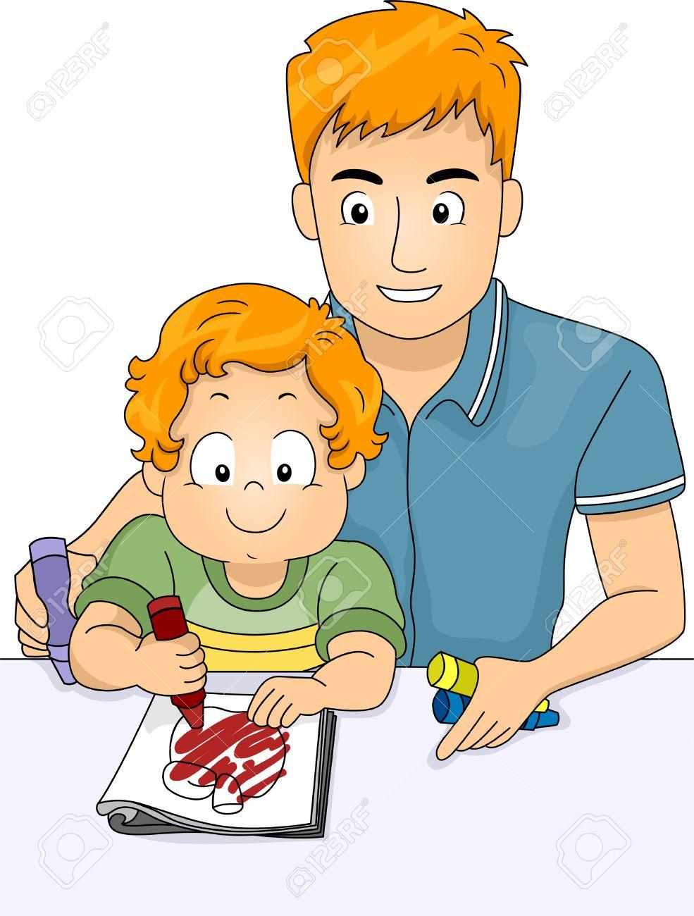 Ilustración De Un Padre Ayudando A Su Hijo En Color De Un Libro Para ...