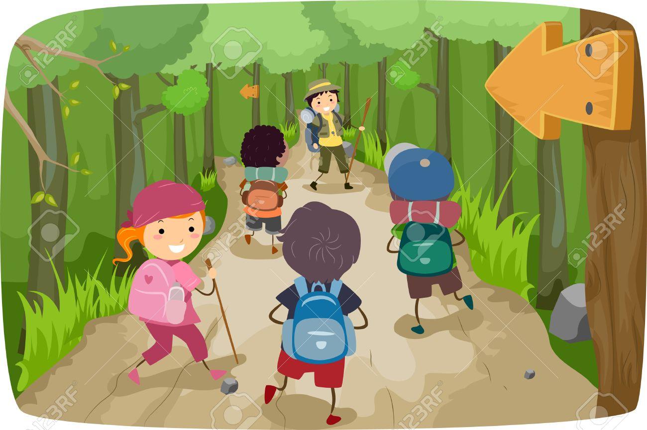 Illustration De Petits Enfants Sur Un Voyage De Randonnee Clip Art Libres De Droits Vecteurs Et Illustration Image 28965325