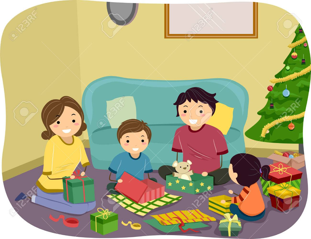 illustration of a family opening christmas gifts together stock vector 28966194